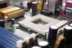 CPU socket. Computer motherboard with empty CPU socket Stock Photo
