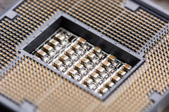 CPU Socket On Computer Motherboard Stock Photo