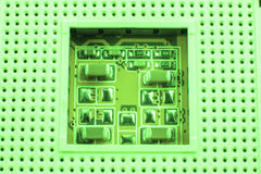 CPU socket on a computer motherboard macro close.  Stock Photos