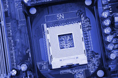 CPU socket on a computer motherboard macro close Royalty Free Stock Images