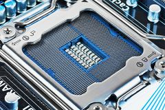 CPU socket on motherboard royalty free stock photo