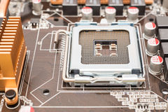 CPU Socket On Motherboard Stock Photo