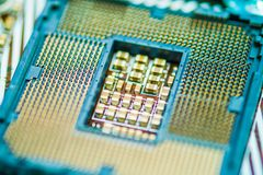 Modern Central processing unit Socket CPU. CPU socket on Motherboard computer. The Resistors at the middle of CPU socket Stock Image