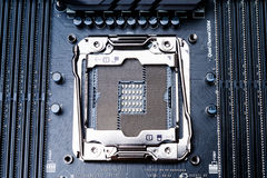 CPU socket on the motherboard. Top view. Toned image Stock Photo