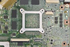 Cpu socket on motherboard Royalty Free Stock Images