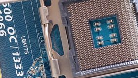 CPU socket in motion. Close up footage of a CPU socket in motion stock video footage