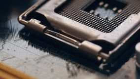 CPU socket in motion stock footage