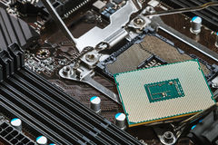 CPU socket and processor on the motherboard Stock Image
