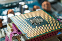 CPU socket and processor. On the motherboard. Before installation processor Stock Photo
