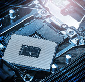 CPU socket and processor on the motherboard Stock Images