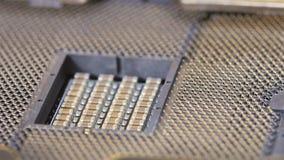 CPU socket of server mainboard, sliding video stock video footage