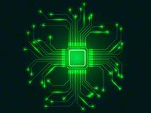 Cpu-spaander met heldere verbindingen Groene microprocessor Abstracte lichte technologische achtergrond Gloeiende motherboard vector illustratie