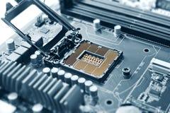 CPU-stickkontakt på moderkortblue Royaltyfria Foton