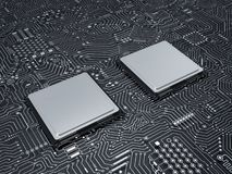 CPU sul circuito Fotografia Stock