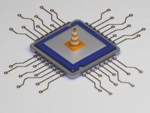 CPU sulla riparazione, cono del costruttore sull'icona 3d rendono Immagine Stock Libera da Diritti
