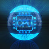 CPU symbol on globe formed by binary code Royalty Free Stock Photo
