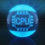 Cpu-symbool op bol door binaire code wordt gevormd die Royalty-vrije Stock Foto