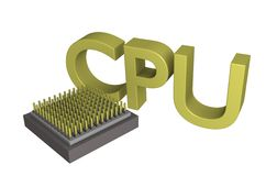 CPU Text Core 3d Stock Photography
