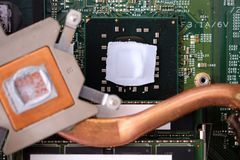 Cpu thermal grease. Inside dirty laptop computer stock image