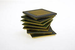 CPU tower. Some old and new cpu Royalty Free Stock Photo