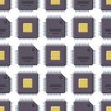 Cpu-van de de achtergrond illustratiehardware van de microprocessorsmicrochip vector het patroon naadloos componentenmateriaal Royalty-vrije Stock Afbeeldingen