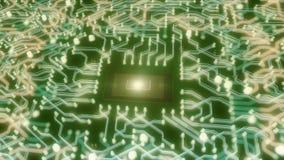CPU y placa de circuito futuristas stock de ilustración