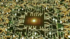 CPU y placa de circuito futuristas ilustración del vector