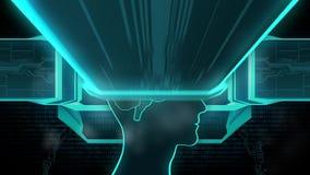 CPUen installeras i hjärnan som byter ut, återställning meningen, medvetenhet, minne stock video