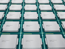 CPUs in a row. CPUs (central processing units) in a row  on white background Stock Photo