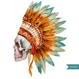 Cráneo étnico stock de ilustración