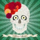 Cráneo abstracto con las flores, los ojos, el modelo ligero y el CCB del estallido-arte Fotos de archivo