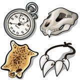 Cráneo animal, piel, collar de colmillos y contador de tiempo stock de ilustración