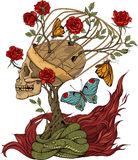 Cráneo, arbusto de rosas, serpiente y llama Imágenes de archivo libres de regalías