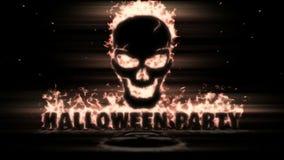 Cráneo ardiente con el partido de Halloween del texto almacen de video