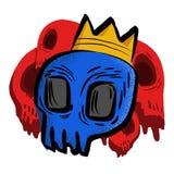 Cráneo azul con la corona ilustración del vector