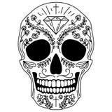 Cráneo blanco y negro del azúcar stock de ilustración