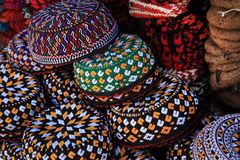 Cráneo-casquillos bordados Turkmenistán Ashkhabad Foto de archivo