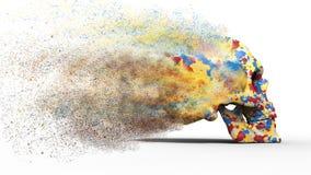 Cráneo colorido arruinado libre illustration