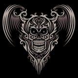Cráneo con alas adornado ilustración del vector