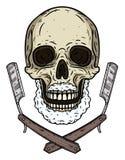 Cráneo con dos cuchillas que afeitan Cráneo de la historieta imágenes de archivo libres de regalías