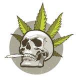Cráneo con el cigarrillo fotografía de archivo libre de regalías