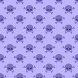 Cráneo con el fondo de la bandera pirata Modelo púrpura inconsútil de h Imagen de archivo libre de regalías