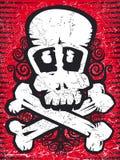 Cráneo con el grunge de los crossbones stock de ilustración