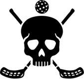 Cráneo con el palillo cruzado del floorball stock de ilustración