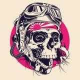 Cráneo con el piloto Helmet Illustration ilustración del vector