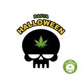 Cráneo con la marijuana, cáñamo Rasta Halloween Logotipo de la impresión para Fotos de archivo libres de regalías