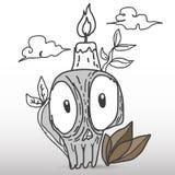 Cráneo con la vela Imagenes de archivo