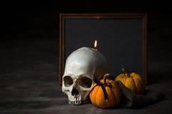 Cráneo con la vela y la calabaza Fotografía de archivo libre de regalías