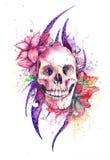 Cráneo con las flores Imagen de archivo