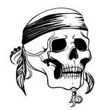 Cráneo con las plumas Ilustración del vector Foto de archivo libre de regalías